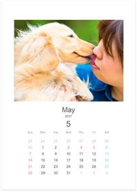 ペットの記念撮影のA4リングカレンダー見本